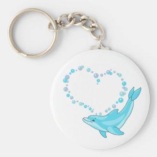 Dolphin Heart Basic Round Button Keychain