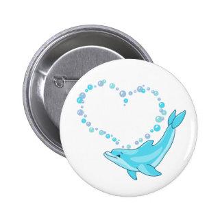 Dolphin Heart 2 Inch Round Button
