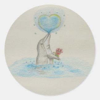 Dolphin Heart Classic Round Sticker