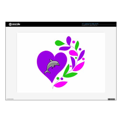 Dolphin Heart Decals For Laptops