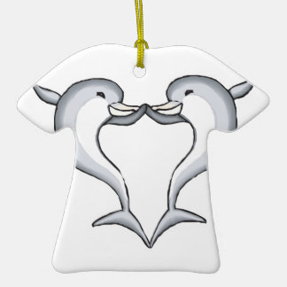 dolphin heart Double-Sided T-Shirt ceramic christmas ornament