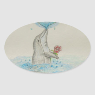 Dolphin Heart Oval Sticker