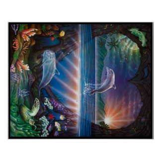Dolphin Heart Painting Poster