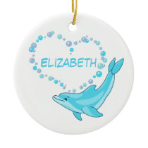 Dolphin Heart Personalized Ceramic Ornament