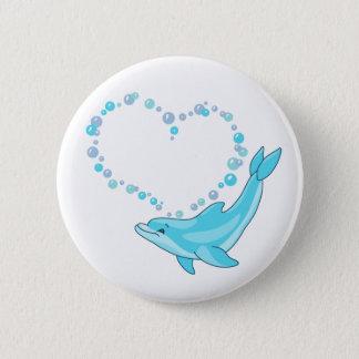 Dolphin Heart Pinback Button