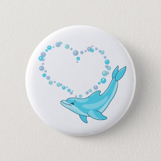 Dolphin Heart Pinback Button
