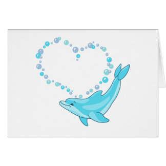 Dolphin Heart Stationery Note Card