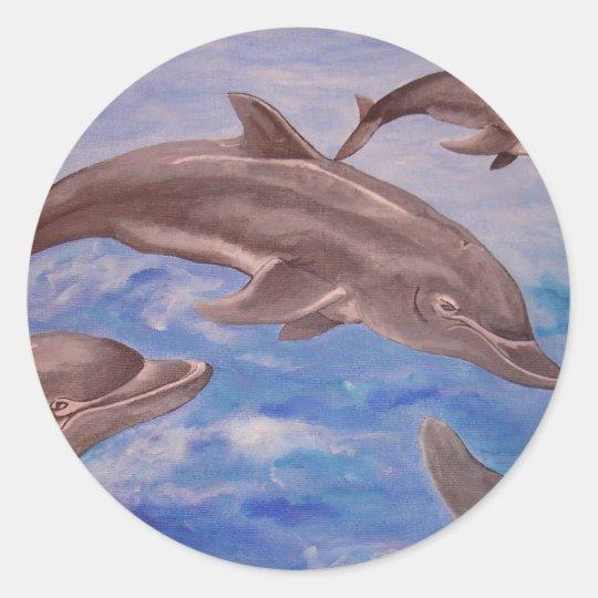 Dolphin High Five Classic Round Sticker