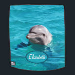 """Dolphin in Blue Water Personalize Backpack<br><div class=""""desc"""">Grey dolphin photograph smiling out of beautiful clear ocean water. You can personalize it by adding any text you want,  your names,  or your initials. Just change the text added to your own choice.</div>"""