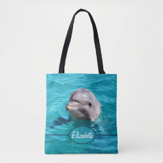 Dolphin in Blue Water Personalize Tote Bag
