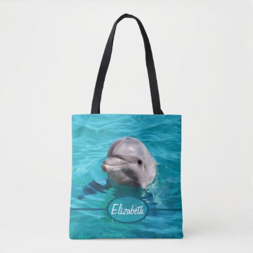 ironydesignphotos Dolphin in Blue Water Personalize Tote Bag