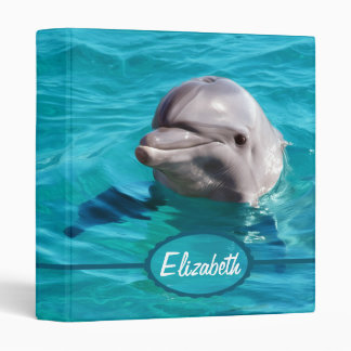 Dolphin in Blue Water Photo 3 Ring Binder