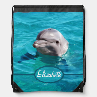 Dolphin in Blue Water Photo Backpack