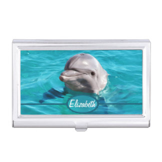 Dolphin in Blue Water Photo Case For Business Cards