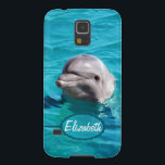 "Dolphin in Blue Water Photo Case For Galaxy S5<br><div class=""desc"">Grey dolphin photograph smiling out of beautiful clear ocean water. You can personalize it by adding any text you want,  your names,  or your initials. Just change the text added to your own choice.</div>"
