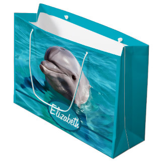 Dolphin in Blue Water Photo Large Gift Bag