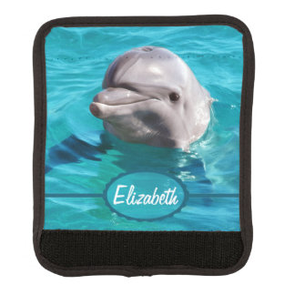 Dolphin in Blue Water Photo Luggage Handle Wrap
