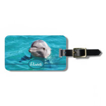 Dolphin in Blue Water Photo Luggage Tag