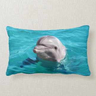 Dolphin in Blue Water Photo Lumbar Pillow