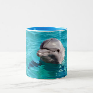 Dolphin in Blue Water Photo Two-Tone Coffee Mug