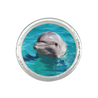 Dolphin in Blue Water Photo Photo Ring