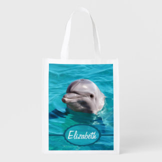 Dolphin in Blue Water Photo Reusable Grocery Bags