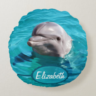 Dolphin in Blue Water Photo Round Pillow