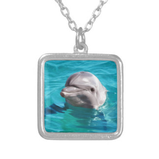 Dolphin in Blue Water Photo Square Pendant Necklace