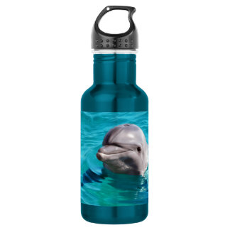 Dolphin in Blue Water Photo Stainless Steel Water Bottle