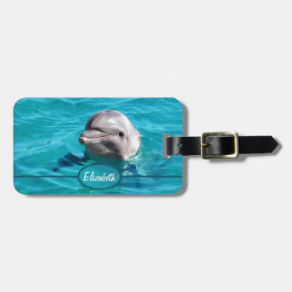 Dolphin in Blue Water Photo Tags For Luggage