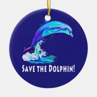 Dolphin in Colors: Save the Dolphin! Ceramic Ornament