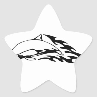 Dolphin in Flames Star Sticker