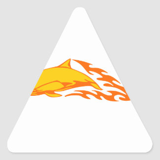 Dolphin in Flames Triangle Sticker