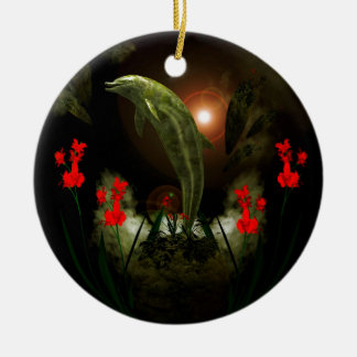 Dolphin in stone Double-Sided ceramic round christmas ornament