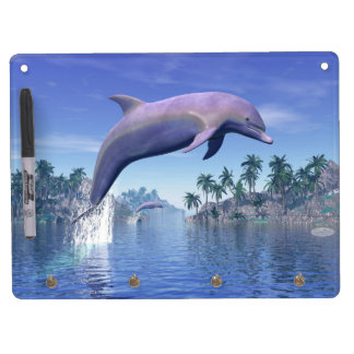 Dolphin in the tropics - 3D render Dry Erase Board With Keychain Holder