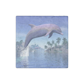 Dolphin in the tropics - 3D render Stone Magnet