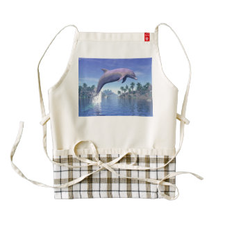 Dolphin in the tropics - 3D render Zazzle HEART Apron