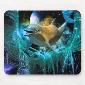 Dolphin in the universe mouse pads
