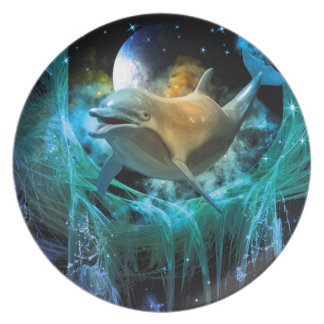 Dolphin in the universe dinner plate