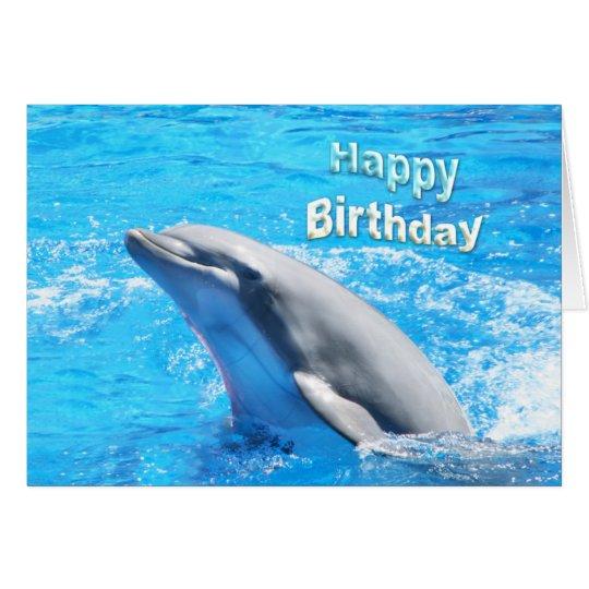 Dolphin In Water Happy Birthday Card | Zazzle.com