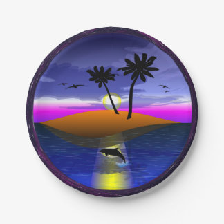 Dolphin Island paper plate