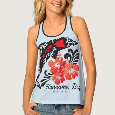 Beach Themed Dolphin Islands and Hibiscus Flowers Tank Top