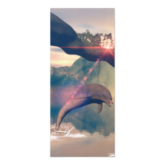 "Dolphin jumping and playing 4"" x 9.25"" invitation card"