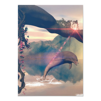 "Dolphin jumping and playing 5"" x 7"" invitation card"