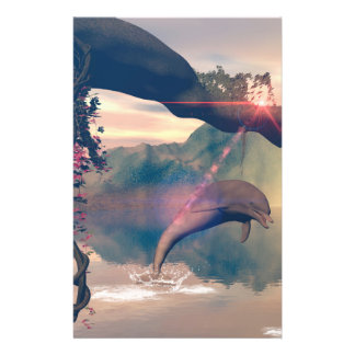 Dolphin jumping and playing customized stationery