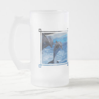 Dolphin Jumping  Frosted Beer Mug