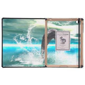 Dolphin jumping in the sea with waves as heart covers for iPad