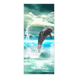 "Dolphin jumping in the sea with waves as heart 4"" x 9.25"" invitation card"