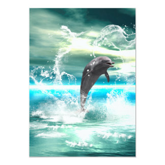 "Dolphin jumping in the sea with waves as heart 5"" x 7"" invitation card"