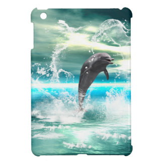 Dolphin jumping in the sea with waves as heart case for the iPad mini